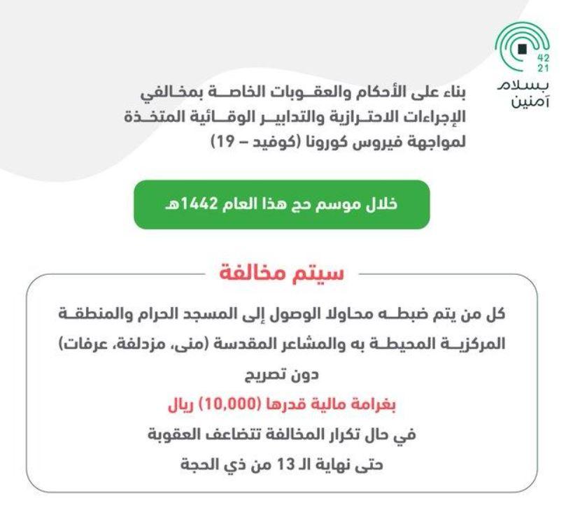244 1 المرور يكشف عن غرامة مخالفة الوصول للمسجد الحرام والمنطقة المركزية المحيطة به والمشاعر المقدسة