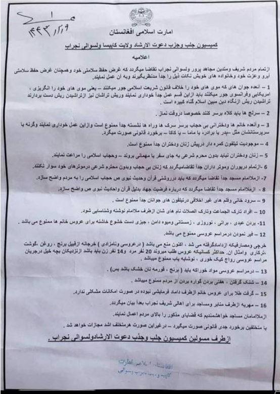 441147 1 - طالبان تعلن قائمة محظورات جديدة في أفغانستان